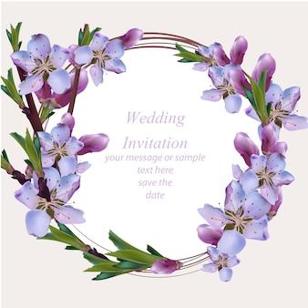 Trouwkaart met paarse bloemenkrans