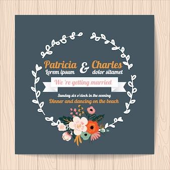 Trouwuitnodiging met lint en bloemenkrans