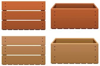 Twee dozen van hout in verschillende kleuren