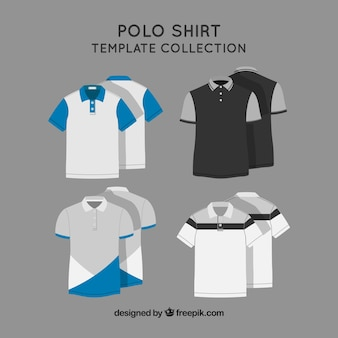 Twee kleuren polo shirt template colecction
