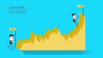 Twee zakenlieden op de grafiek, een op startpunt, een klim naar de top