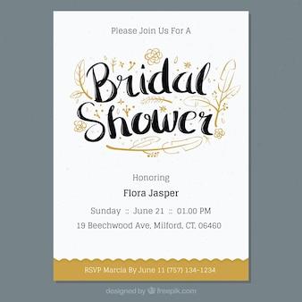 Uitnodiging Bachelorette met de hand getekende bloemen