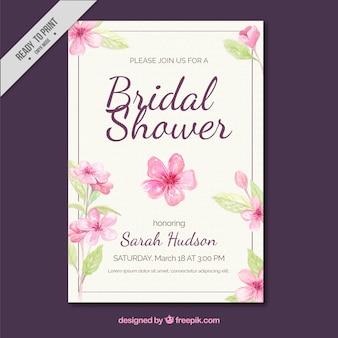 Uitnodiging Bachelorette met waterverf bloemen