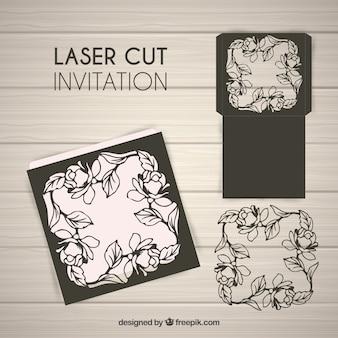 Uitnodiging bloemen laser snijden