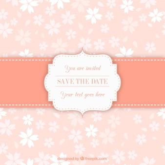 Uitnodiging etiket op bloemmotief