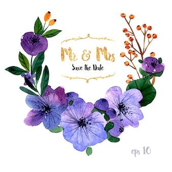 Uitnodiging van het huwelijk met aquarel bloem