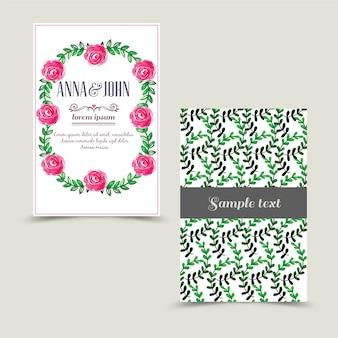 Uitnodigingskaart met bloemenachtergrond