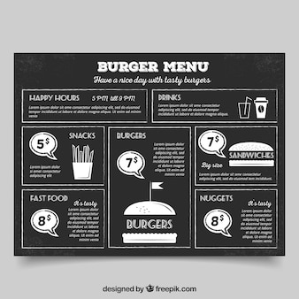 Uitstekende hamburger menu op een schoolbord