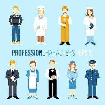 Uniformen van verschillende beroepen