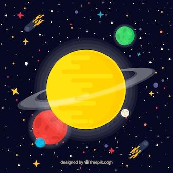 Universum achtergrond met gele planeet