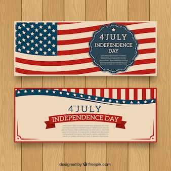 Usa onafhankelijkheidsdag banner met vlag achtergrond