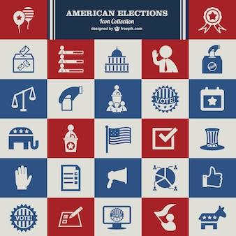 Usa verkiezingen vector set van pictogrammen