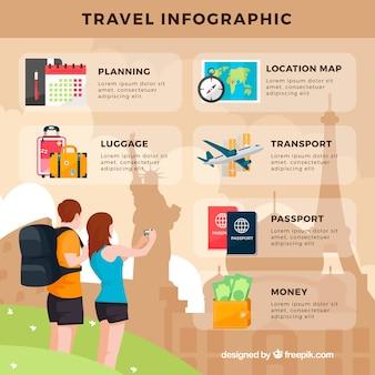 Vakantie paar computer graphics met reiselementen