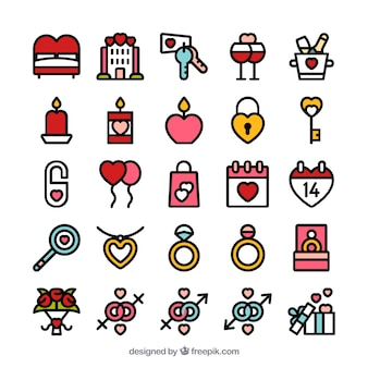 Valentijn dag icon set
