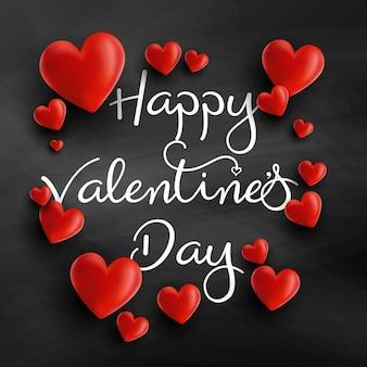 Valentines Day achtergrond met 3D-harten en decoratieve tekst