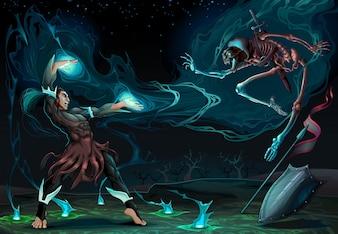 Vechten scene tussen de goochelaar en skeleton Fantasy vector illustratie