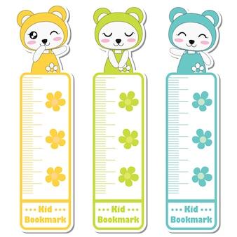 Vector cartoon illustratie met schattige kleurrijke panda meisjes en bloemen geschikt voor kid bookmark label ontwerp, bookmark tag en sticker set