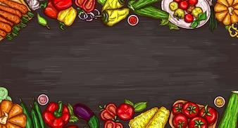 Vector cartoon illustratie van verschillende groenten op een houten achtergrond.