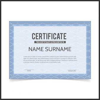 Vector certificaat sjabloon met blauwe ontwerper grenzen