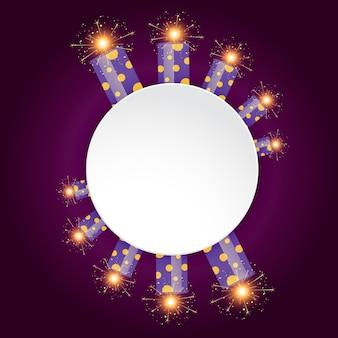Vector diwali festival crackers met ruimte voor uw tekst