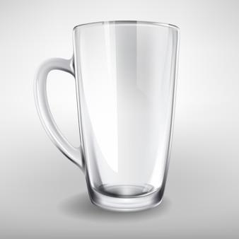 Vector hoge glazen leeg realistische cup