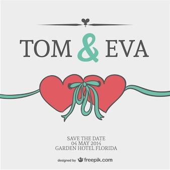 Vector huwelijksharten uitnodigingskaart