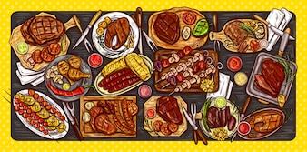 Vector illustratie, culinaire banner, barbecue achtergrond met gegrild vlees, worstjes, groenten en sauzen.