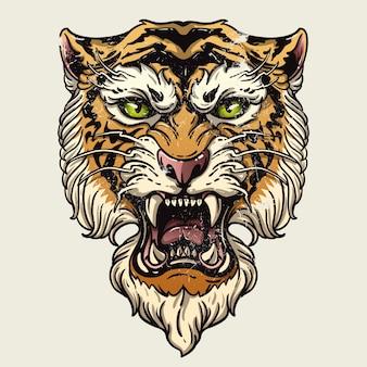 Vector illustratie hoofd woeste tijger op een witte achtergrond