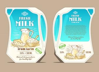 Vector illustratie in de gravure stijl, ontwerp verpakking voor melk, leun pakket in de vorm van een kruik