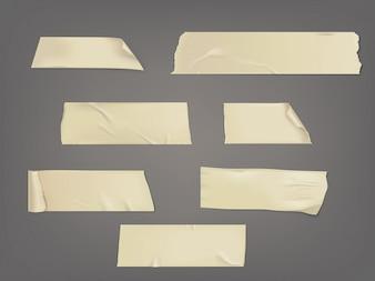 Vector illustratie set van verschillende plakjes plakband met schaduw en rimpels
