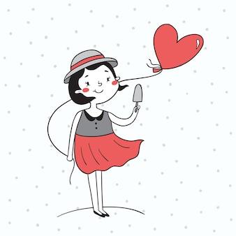 Vector illustratie van een meisje met de ballon