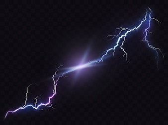 Vector illustratie van een realistische stijl van heldere gloeiende bliksem geïsoleerd op een donker, natuurlijk licht effect.