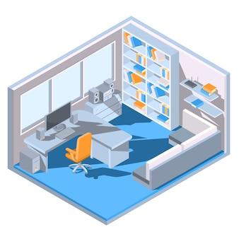 Vector isometrisch ontwerp van een thuisbureau