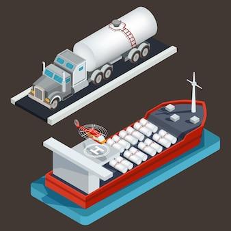 Vector isometrische vrachtwagen met tanker en zeetanker met vrachtsilo en helikopterstootkussen.