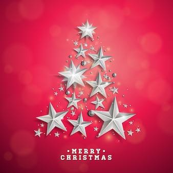 Vector Kerst en Nieuwjaar illustratie met kerstboom gemaakt van cutout papier sterren op rode achtergrond. Vakantie ontwerp voor wenskaart, poster, banner.