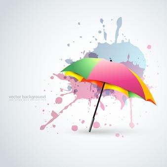 Vector kleurrijke paraplu in grunge stijl achtergrond