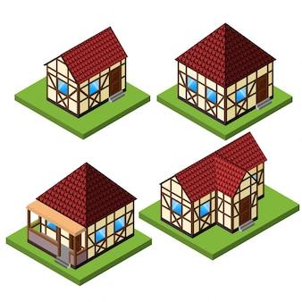 Vector landelijke isometrische huiscollectie in timmerwerkstijl Oude Europese fachwerkstijlgebouwen