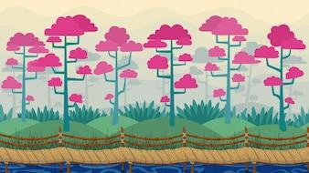 Vector parallax achtergrond Lente landschap met mist bloeiende bomen en houten naadloze brug