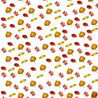 Vector patroon met herfstbladeren, bloemen achtergrond, autmn val.