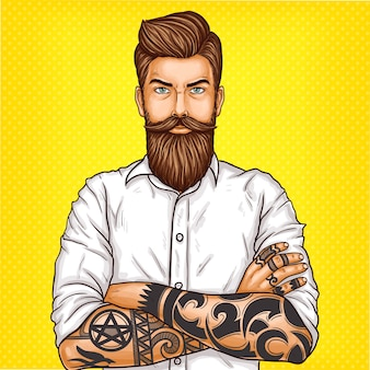 Vector pop art illustratie van een brutale bebaarde man, macho met tatoo