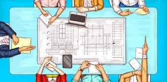 Vector pop art illustratie van een man en een vrouw zitten op een onderhandeling tafel bovenaanzicht