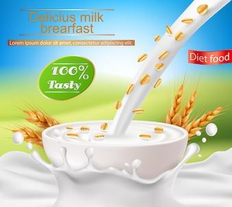 Vector realistisch poster met een melkplons en melk die in een kopje wordt gegoten met ontbijtgranen