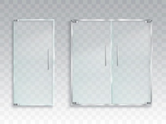 Vector realistische illustratie van een lay-out van een ingangsglazen deur met metalen handgrepen