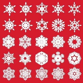 Vector set van verschillende sneeuwvlokken