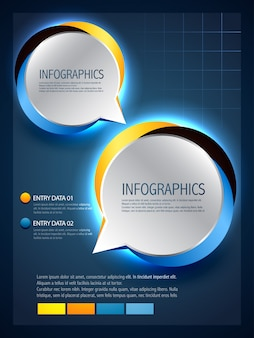 Vector speech bubbles in infographic stijl