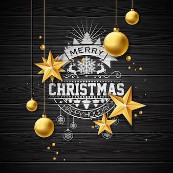 Vector vrolijke kerst illustratie op vintage houten achtergrond