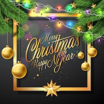 Vector Vrolijke Kerstmis Illustratie Op Zwarte Achtergrond