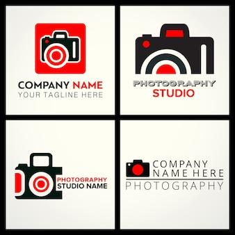 Vector zwarte en rode pictogrammen voor fotografen 4 voor fotografie