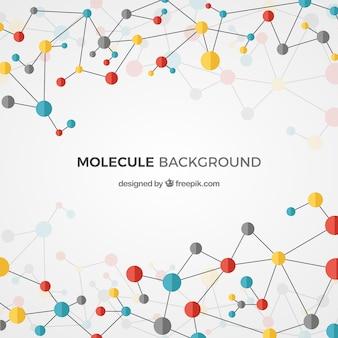 Veelhoekige achtergrond van gekleurde moleculen