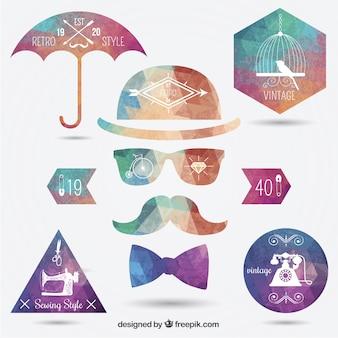 Veelhoekige hipster insignes